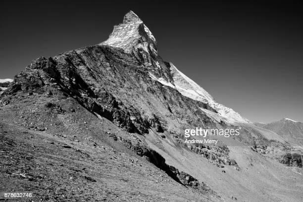 Matterhorn, rock strata in black and white