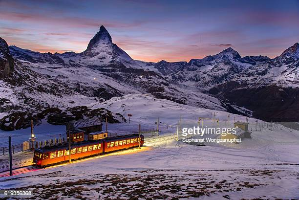 Matterhorn scene with Gornegrat railway that is one of landmark in Zermatt, Switzerland