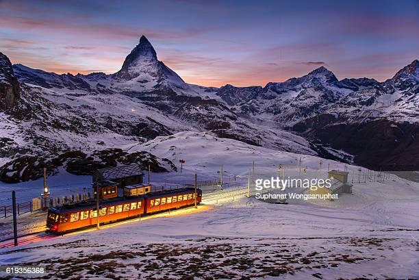 matterhorn scene with gornegrat railway that is one of landmark in zermatt, switzerland - zermatt stock pictures, royalty-free photos & images