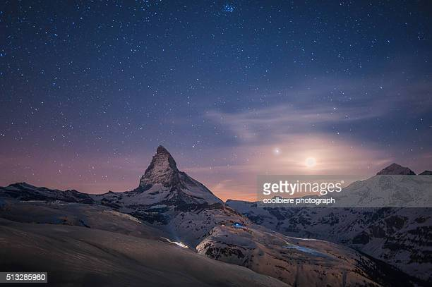 matterhorn with stars - snow moon stock pictures, royalty-free photos & images