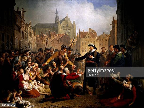 Mattheus Ignatius van Bree Belgian school Burgomaster van der Werf offers his sword to the people of Leiden 18161817 Oil on canvas Leiden Museum de...