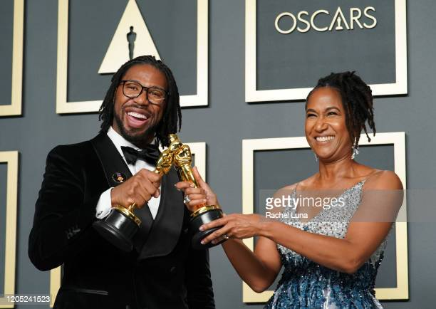 "Matthew A Cherry and Karen Rupert Toliver winners of the Animated Short Film award for ""Hair Love"" pose in the press room during the 92nd Annual..."