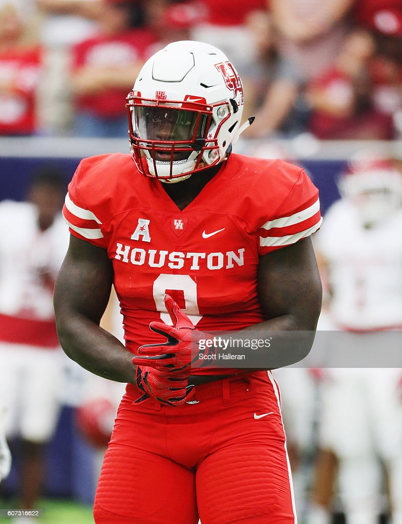 Matthew Adams #9 of the Houston Cougars in action during their game against the Oklahoma Sooners during the Advocare Texas Kickoff at NRG Stadium on September 3, 2016 in Houston, Texas.