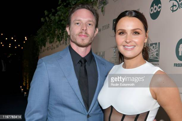Matthew Alan and Camilla Luddington attend The Walt Disney Company 2020 Golden Globe Awards Post-Show Celebration at The Beverly Hilton Hotel on...