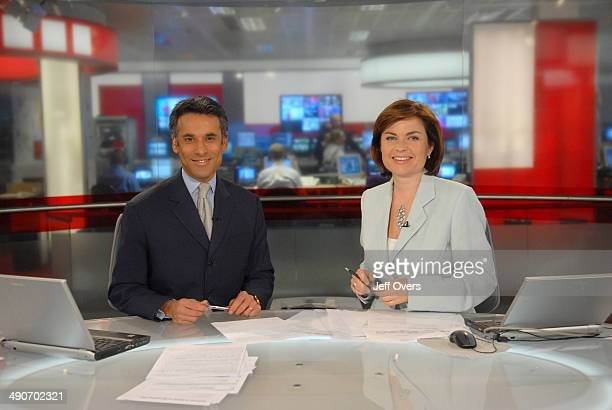 Matthew Amroliwala and Jane Hill on the set of BBC rolling news programme News 24