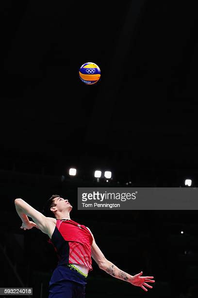 Matthew Anderson of United States serves during the Men's Bronze Medal Match between United States and Russia on Day 16 of the Rio 2016 Olympic Games...