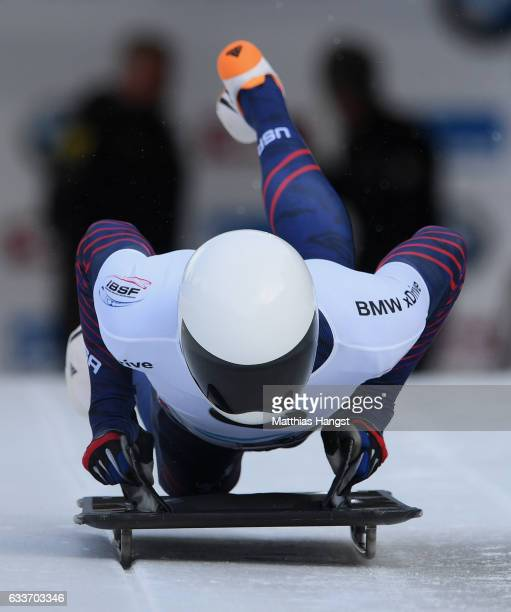 Matthew Antoine of the United States competes during the Men's Skeleton first run of the BMW IBSF World Cup at Olympiabobbahn Igls on February 3 2017...