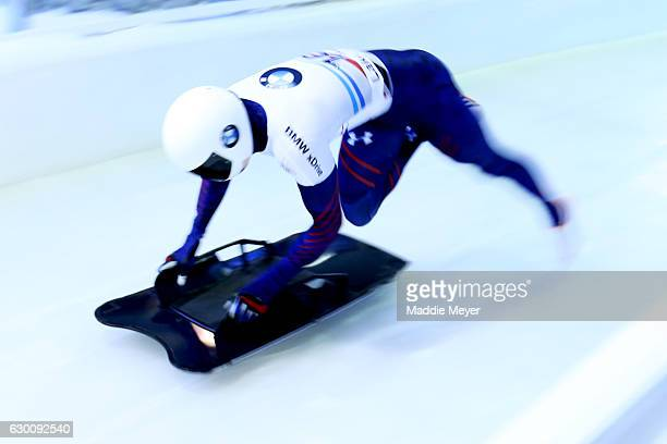 Matthew Antoine of the United States competes in his first run during day 1 of the 2017 IBSF World Cup Bobsled Skeleton at Lake Placid Olympic Center...