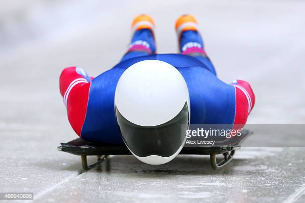 Matthew Antoine of the United States makes a practice skeleton run ahead of the Sochi 2014 Winter Olympics at the Sanki Sliding Center on February 5...