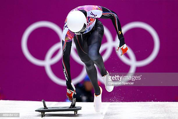 Matthew Antoine of the United States makes a run during the Men's Skeleton on Day 8 of the Sochi 2014 Winter Olympics at Sliding Center Sanki on...