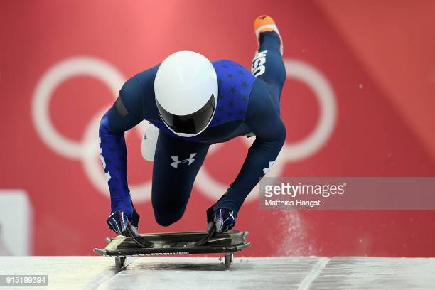 Matthew Antoine of the United States practices during Men's Skeleton training ahead of the PyeongChang 2018 Winter Olympic Games at the Olympic...