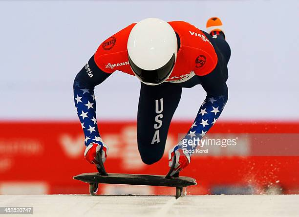 Matthew Antoine of the US competes in the men's skeleton race during the 2013 IBSF World Cup race November 29 2013 in Calgary Alberta Canada