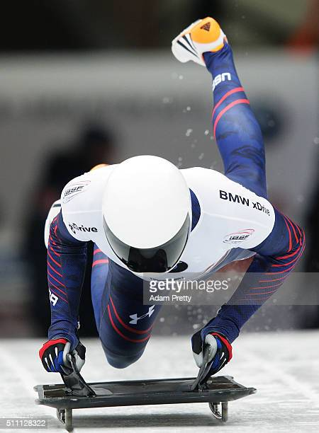 Matthew Antoine of the USA completes his second run of the Men's Skeleton during Day 4 of the IBSF World Championships 2016 at Olympiabobbahn Igls on...