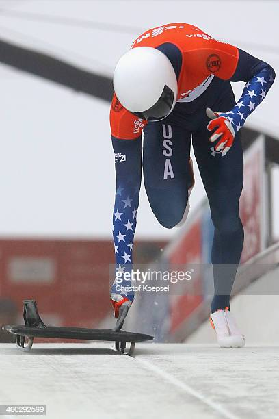 Matthew Antoine of United States competes in his first run of mens skeleton competition during the FIBT Bob Skeleton World Cup at Bobbahn Winterberg...