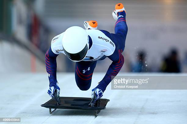 Matthew Antoine of United States competes in his first run of the men's skeleton competition during the BMW IBSF Bob Skeleton Worldcup at Veltins...