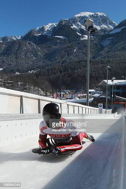 Matthew Antoine of US competes in the first run of the men's Skeleton World Championship on February 24 2011 in Koenigssee Germany