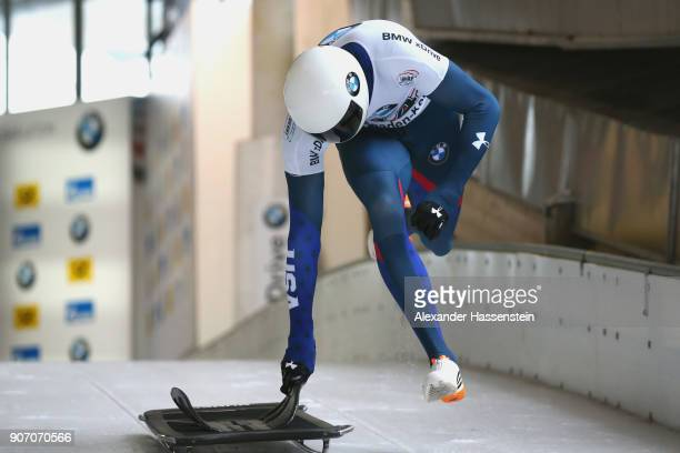 Matthew Antoine of USA competes at Deutsche Post Eisarena Koenigssee during the BMW IBSF World Cup Skeleton on January 19 2018 in Koenigssee Germany