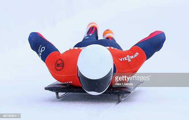 Matthew Antoine of USA competes during heat one of the Men's Skeleton at the Viessmann FIBT Bob Skeleton World Cup at the Olympia Bob Run on January...