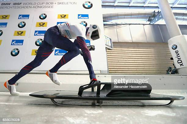 Matthew Antoine of USA competes during the Men's Skeleton first run of the BMW IBSF World Cup at Deutsche Post Eisarena Koenigssee on January 28 2017...