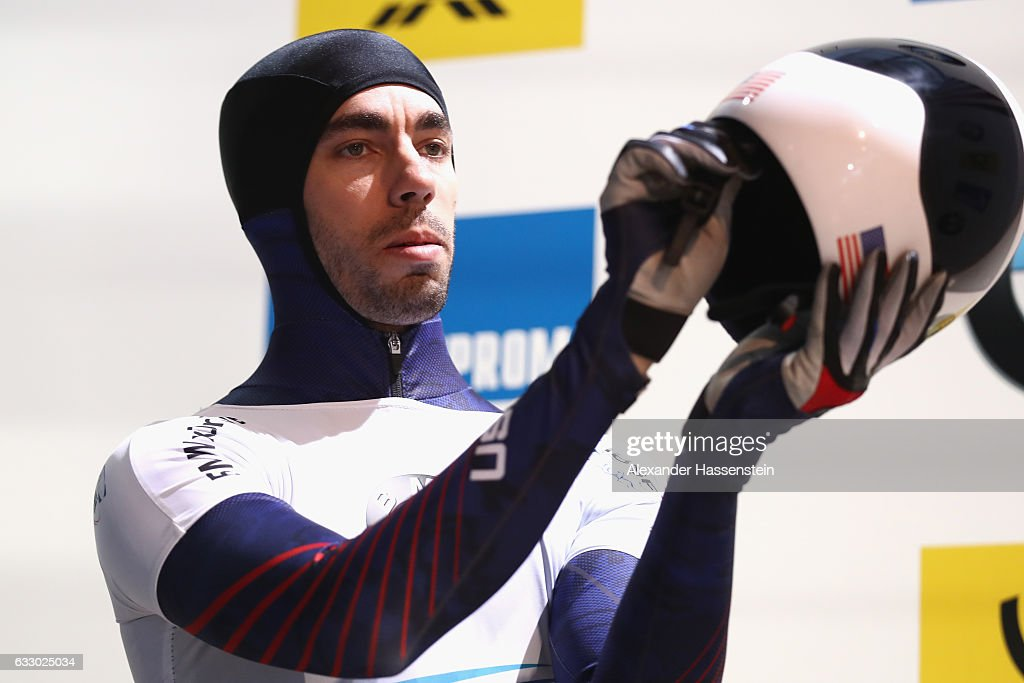 Matthew Antoine of USA competes during the Men's Skeleton first run of the BMW IBSF World Cup at Deutsche Post Eisarena Koenigssee on January 28, 2017 in Koenigssee, Germany.