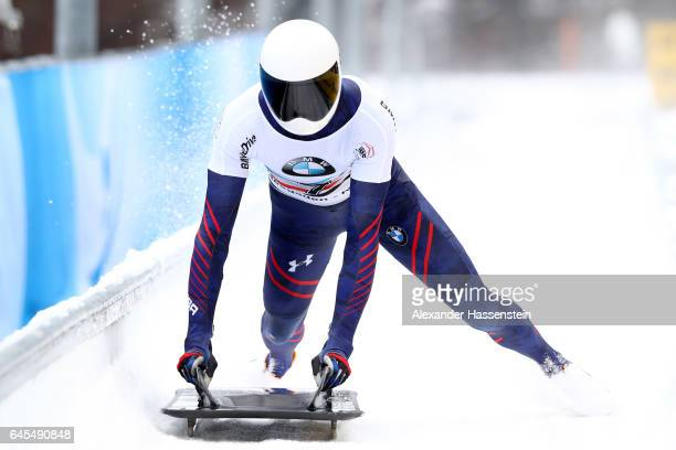 Matthew Antoine of USA reacts after the 4th run of the IBSF World Championships Bob Skeleton 2017 at Deutsche Post Eisarena Koenigssee on February 26...