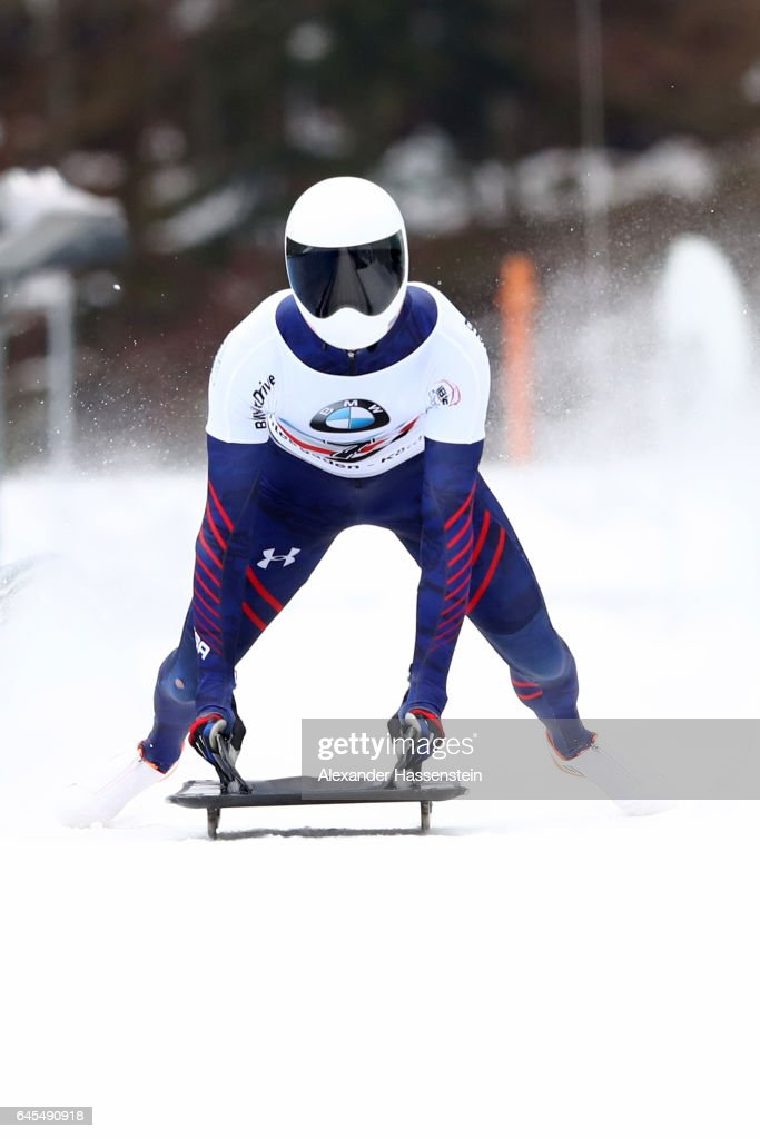 Matthew Antoine of USA reacts after the 4th run of the IBSF World Championships Bob & Skeleton 2017 at Deutsche Post Eisarena Koenigssee on February 26, 2017 in Koenigssee, Germany.