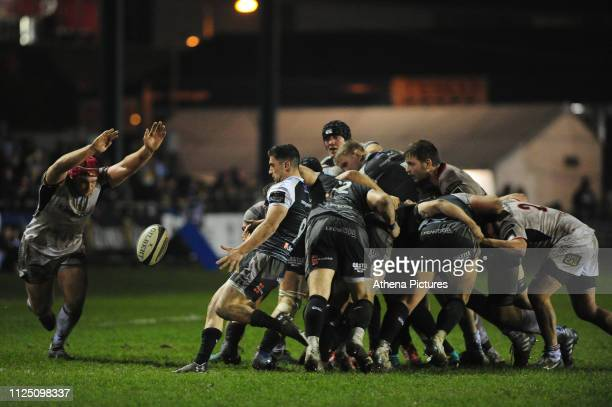 Matthew Aubrey of Ospreys in action during the Guinness Pro14 Round 15 match between the Ospreys and Ulster Rugby at Morganstone Brewery Field on...