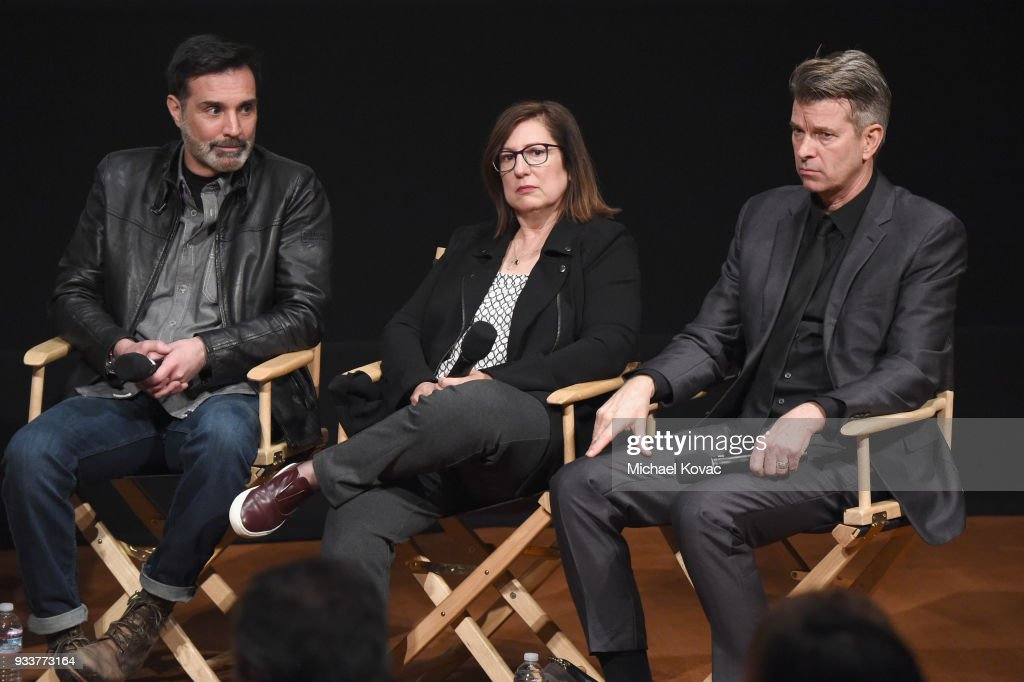 Matthew B. Roberts, Toni Graphia and Jon Gary Steele speak on stage at the STARZ Outlander FYC Event at Linwood Dunn Theater on March 18, 2018 in Los Angeles, California.