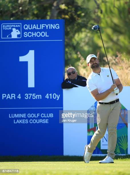 Matthew Baldwin of England tees off the first during the final round of the European Tour Qualifying School Final Stage at Lumine Golf Club on...