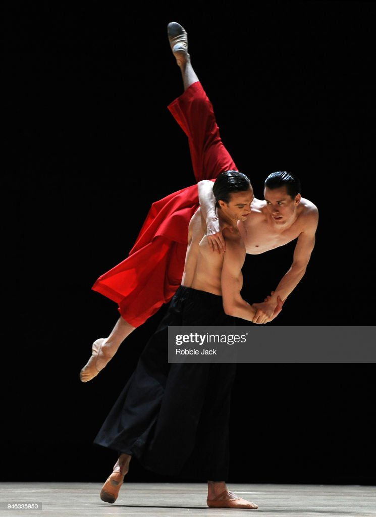 Matthew Ball and Calvin Richardson in the Royal Ballet's production of Wayne McGregor's Obsidian Tear at The Royal Opera House on April 13, 2018 in London, England.