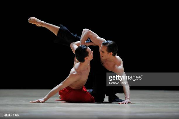 Matthew Ball and Calvin Richardson in the Royal Ballet's production of Wayne McGregor's Obsidian Tear at The Royal Opera House on April 13 2018 in...