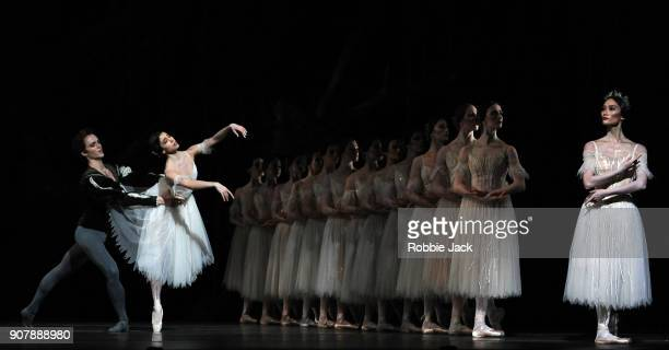 Matthew Ball as Albrecht Yasmine Naghdi as Giselle and Fumi Kaneko as Queen of the Wilis with artists of the company in the Royal Ballet's production...