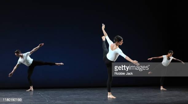 Matthew Ball, Mayara Magri and Francesca Hayward in Merce Cunningham's Cross Currents at The Linbury Theatre on October 9, 2019 in London, England.