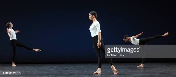 Matthew Ball, Mayara Magri and Francesca Hayward in the Royal Ballet's production of Merce Cunningham's Cross Currents at The Linbury Theatre on...
