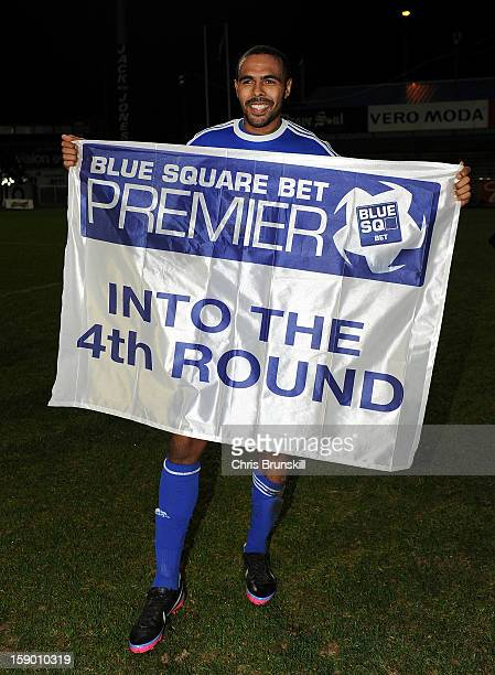 Matthew BarnesHomer of Macclesfield Town celebrates at fulltime following the FA Cup with Budweiser Third Round match between Macclesfield Town and...