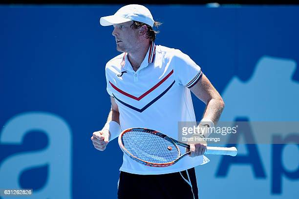 Matthew Barton of Australia celebrates after winning a point in his first round match against Kyle Edmund of Great Britain during day two of the 2017...
