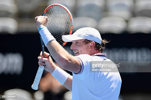 Matthew Barton of Australia celebrates victory in his first round match against Kyle Edmund of Great Britain during day two of the 2017 Sydney...