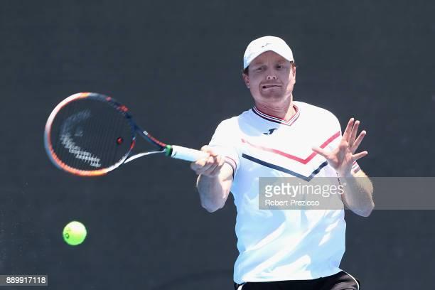 Matthew Barton of Australia competes against Maverick Banes of Australia in his first round Australian Open December Showdown match at Melbourne Park...