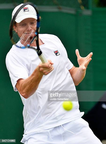 Matthew Barton of Australia in action against Marcelo Arevalo of Spain during the 2016 Wimbledon Qualifying Session on June 22, 2016 in London,...