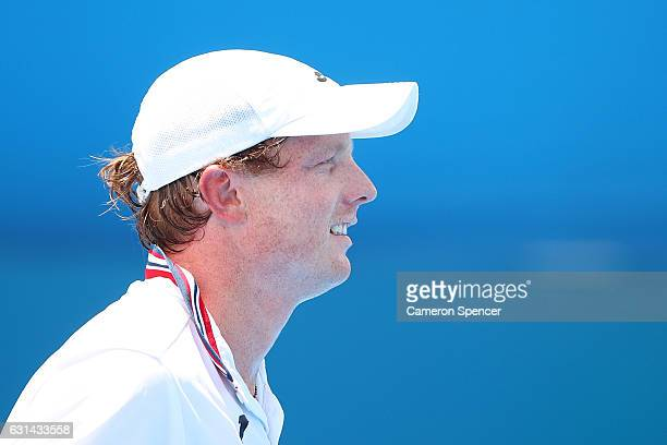 Matthew Barton of Australia looks on during his mens singles match against Gilles Muller of Luxembourg during day four of the 2017 Sydney...