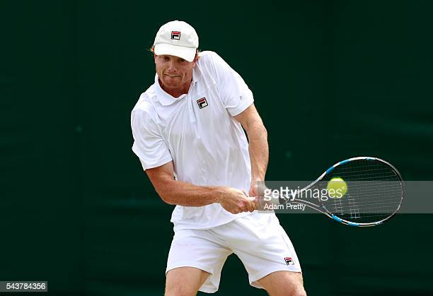 Matthew Barton of Australia plays a backhand during the Men's Singles first round match agasint Albano Olivetti of France on day four of the...