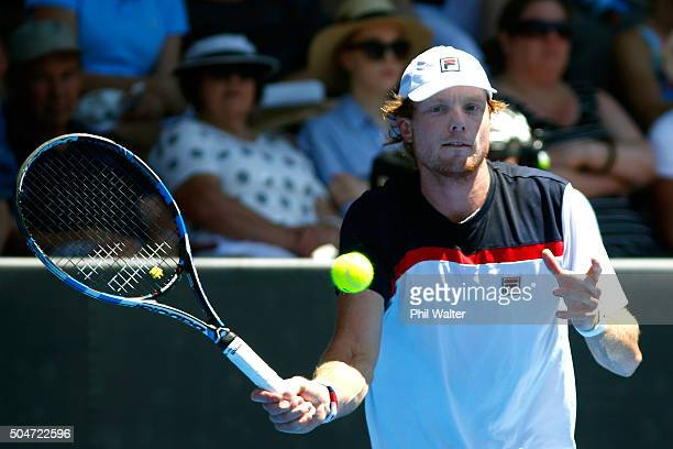 Matthew Barton of Australia plays a forehand against David Ferrer of Spain on Day 3 of the ASB Classic on January 13, 2016 in Auckland, New Zealand.