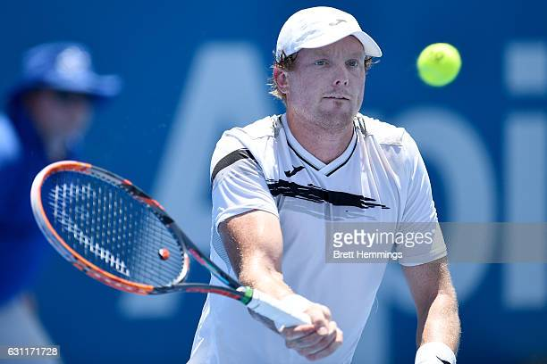 Matthew Barton of Australia plays a forehand shot in his final qualifying match against Mathias Bourgue of France during the 2017 Sydney...