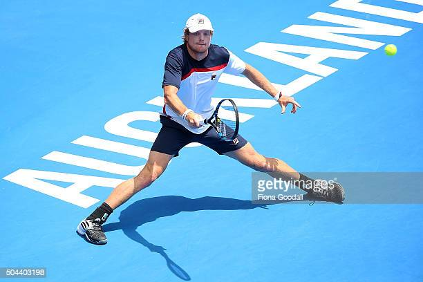 Matthew Barton of Australia returns a shot to Steve Johnson of USA during day one of the men's 2016 ASB Classic at the ASB Tennis Centre on January...