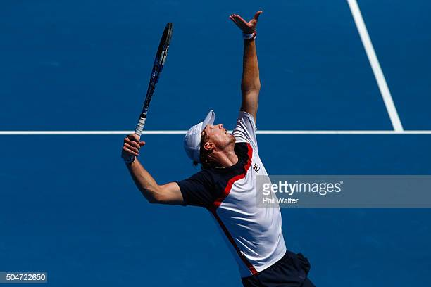 Matthew Barton of Australia serves against David Ferrer of Spain on Day 3 of the ASB Classic on January 13, 2016 in Auckland, New Zealand.