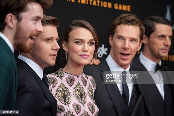 "Matthew Beard, Allen Leech, Keira Knightley, Benedict Cumberbatch, and Matthew Goode attend ""The Imitation Game"" New York Premiere at the Ziegfeld..."