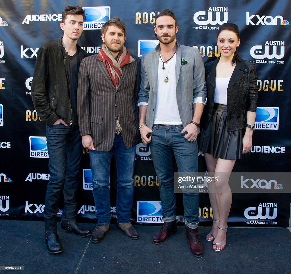 Matthew Beard, Josh Doyle, Joshua Sasse and Leah Gibson arrive at DIRECTV and AUDIENCE Network's Road To Rogue Party on March 16, 2013 in Austin, Texas.