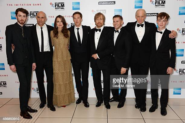 Matthew Beard Mark Strong Keira Knightley Benedict Cumberbatch director Morten Tyldum Allen Leech Charles Dance and Alex Lawther attend the Opening...