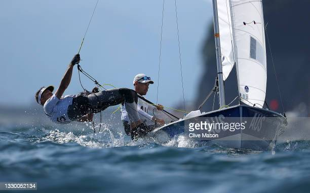 Matthew Belcher and Will Ryan of Australia in action during a Mens 470 Class practice race today in Enoshima ahead of the Tokyo 2020 Olympic Games on...