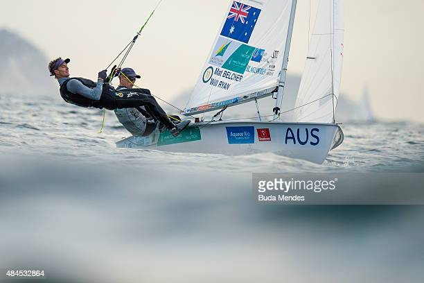 Matthew Belcher and Will Ryan of Australia sail in the 470 class on the Copacabana course during the International Sailing Regatta Aquece Rio Test...